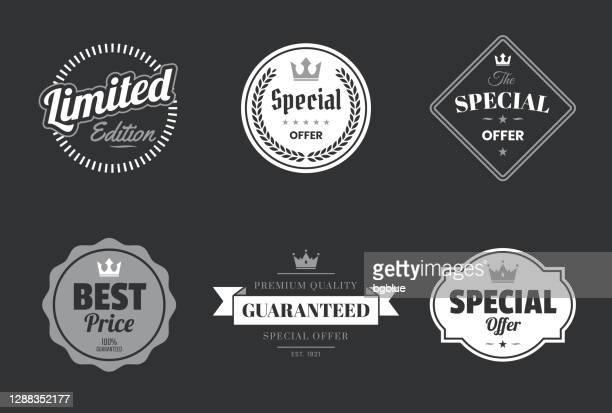 「特別オファー」ホワイトバッジとラベルのセット - デザイン要素 - 限定版点のイラスト素材/クリップアート素材/マンガ素材/アイコン素材