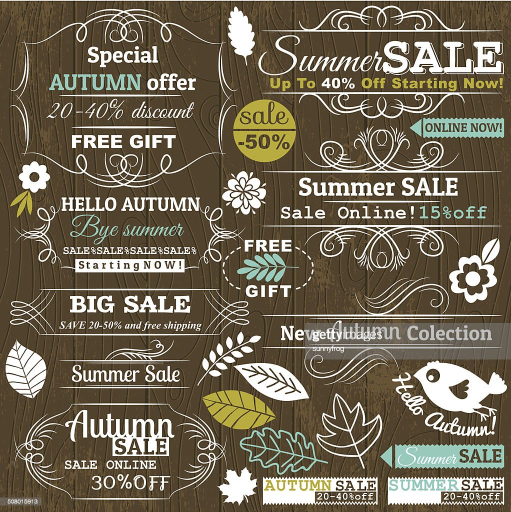 Set of special sale offer labels and banners, vector