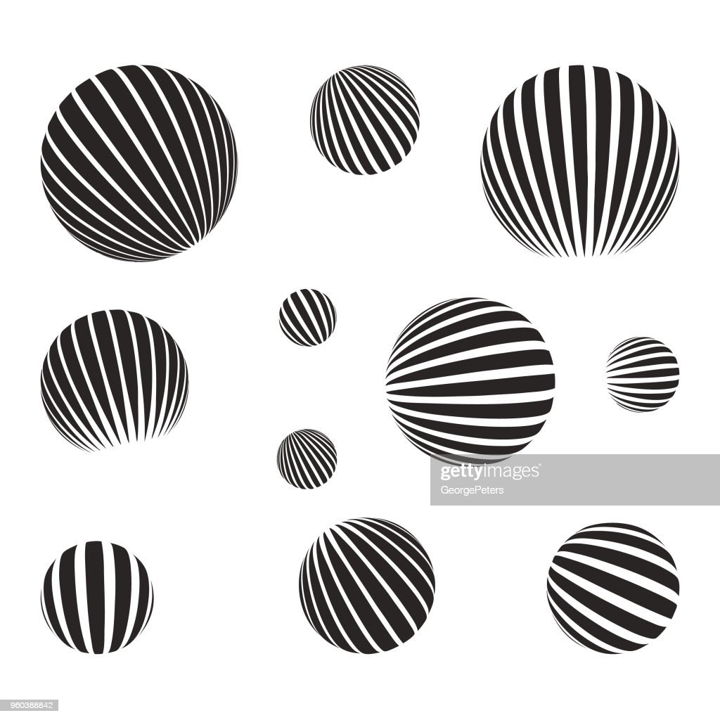 Set of spheres with halftone pattern and light effect : stock illustration