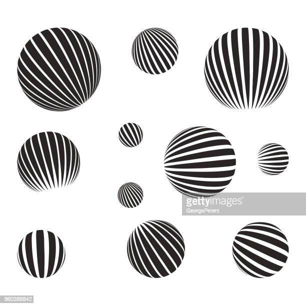 set of spheres with halftone pattern and light effect - optical illusion stock illustrations