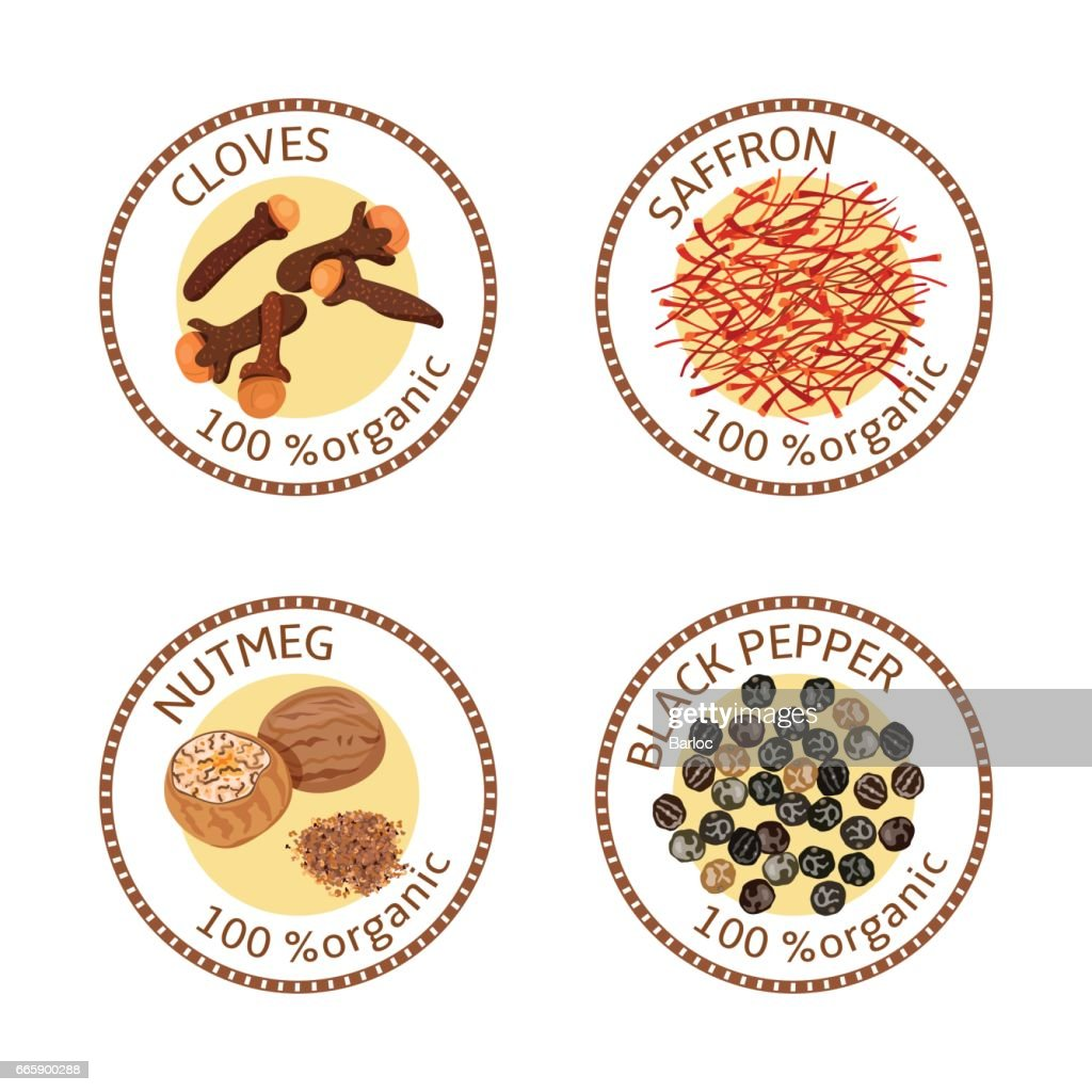 Set of spices labels. 100 organic. collection