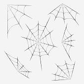 Set of spider webs, Decoration with spider web. Halloween design. Vector image.