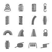 Set of spiral coil springs or curved elastic wires