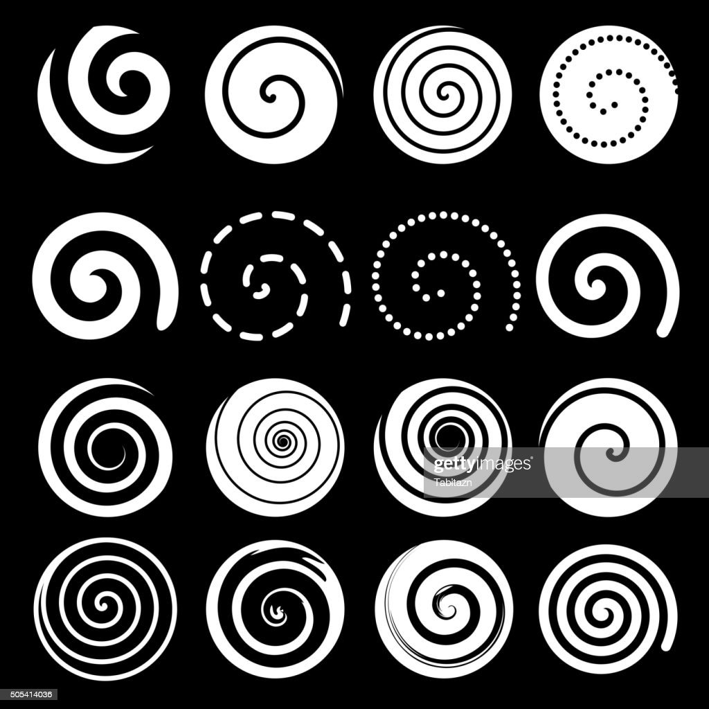 Set of spiral motion elements, white isolated objects, vector