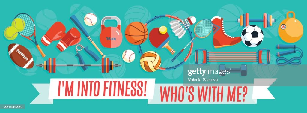 Set of sport balls and gaming items at a turquoise background. Healthy lifestyle tools, elements. Vector Illustration.