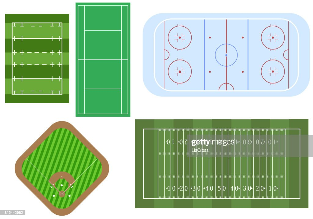 Set of sport games fields, for top view. Football and ragby fields, hockey playground, baseball stadium and tennis court