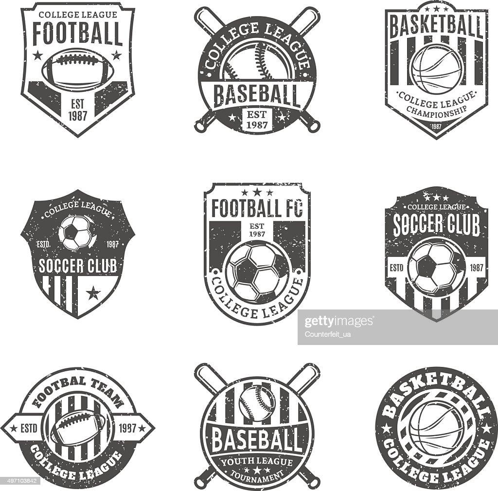 Set of Sport Team Labels for Four Sport Disciplines