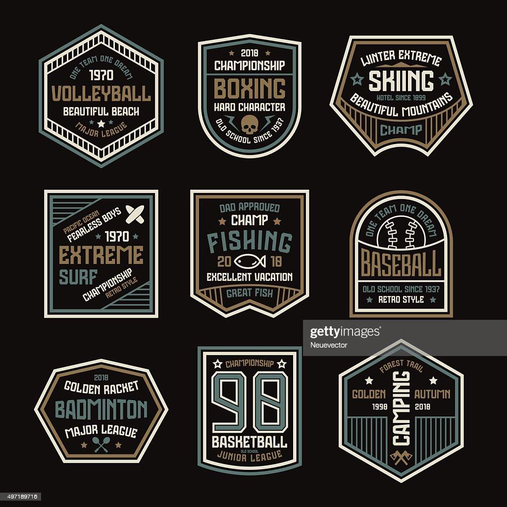 Set of sports badges