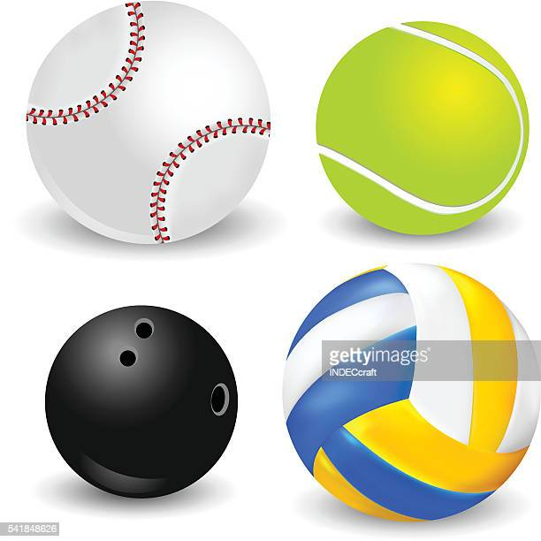 set of sports balls - bowling ball stock illustrations, clip art, cartoons, & icons