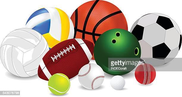 set of sports balls - american football ball stock illustrations