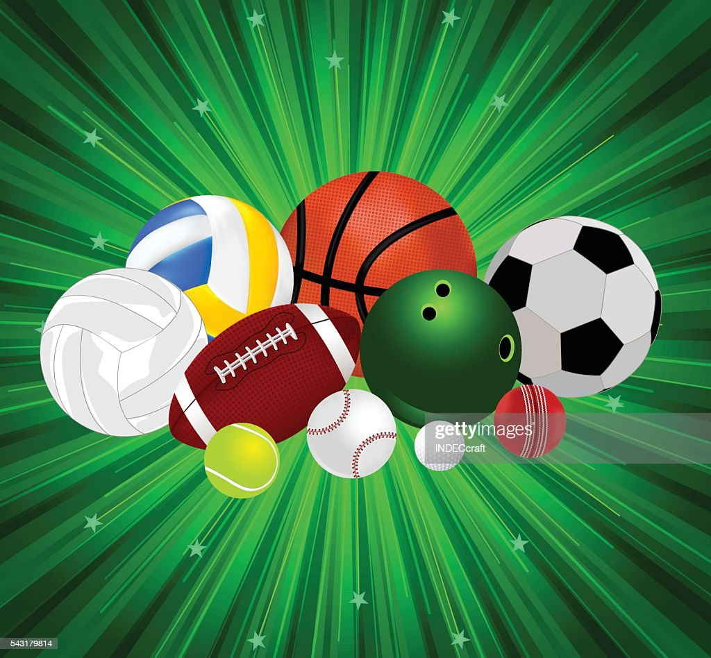 Set Of Sports Balls With Background Vector Art