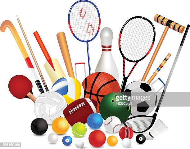 set of sports equipment - sports equipment stock illustrations