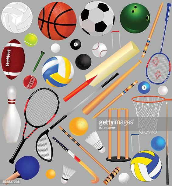 ilustraciones, imágenes clip art, dibujos animados e iconos de stock de conjunto de equipo deportivo - canasta de baloncesto
