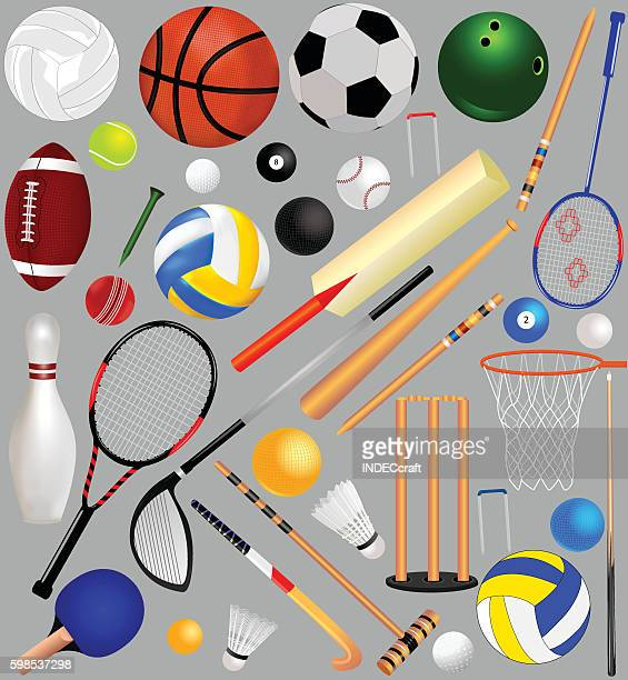set of sports equipment - sports bat stock illustrations