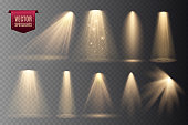 Set of Spotlights isolated on transparent background.