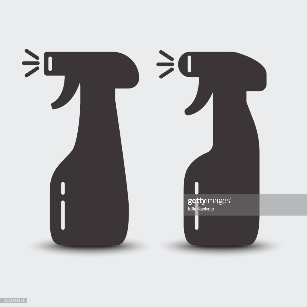 Set of spray bootles. Cleaning agent. Black silhouette. Vector illustration