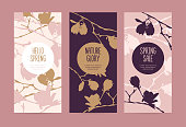 Set of spring cards or banners with the branches of a blossoming magnolia