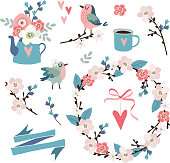 Set of spring, Easter or wedding icons, clip-arts. Flowers, cherry blossoms, birds , floral wreath, hearts and pink ribbon. Isolated vector objects