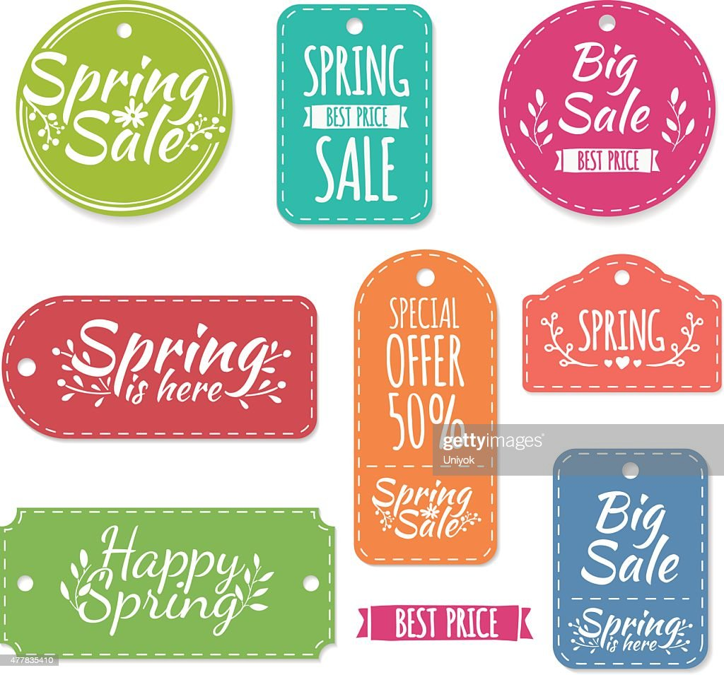 Set of spring stickers, labels, coupons. Spring discounts, promotions, offers.