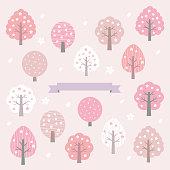 set of spring trees