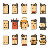 Set of square emotion  icons with rounded corners.