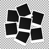 Set of square vector photo frames. Collage of realistic frames isolated on transparent background. Template design. Vector illustration