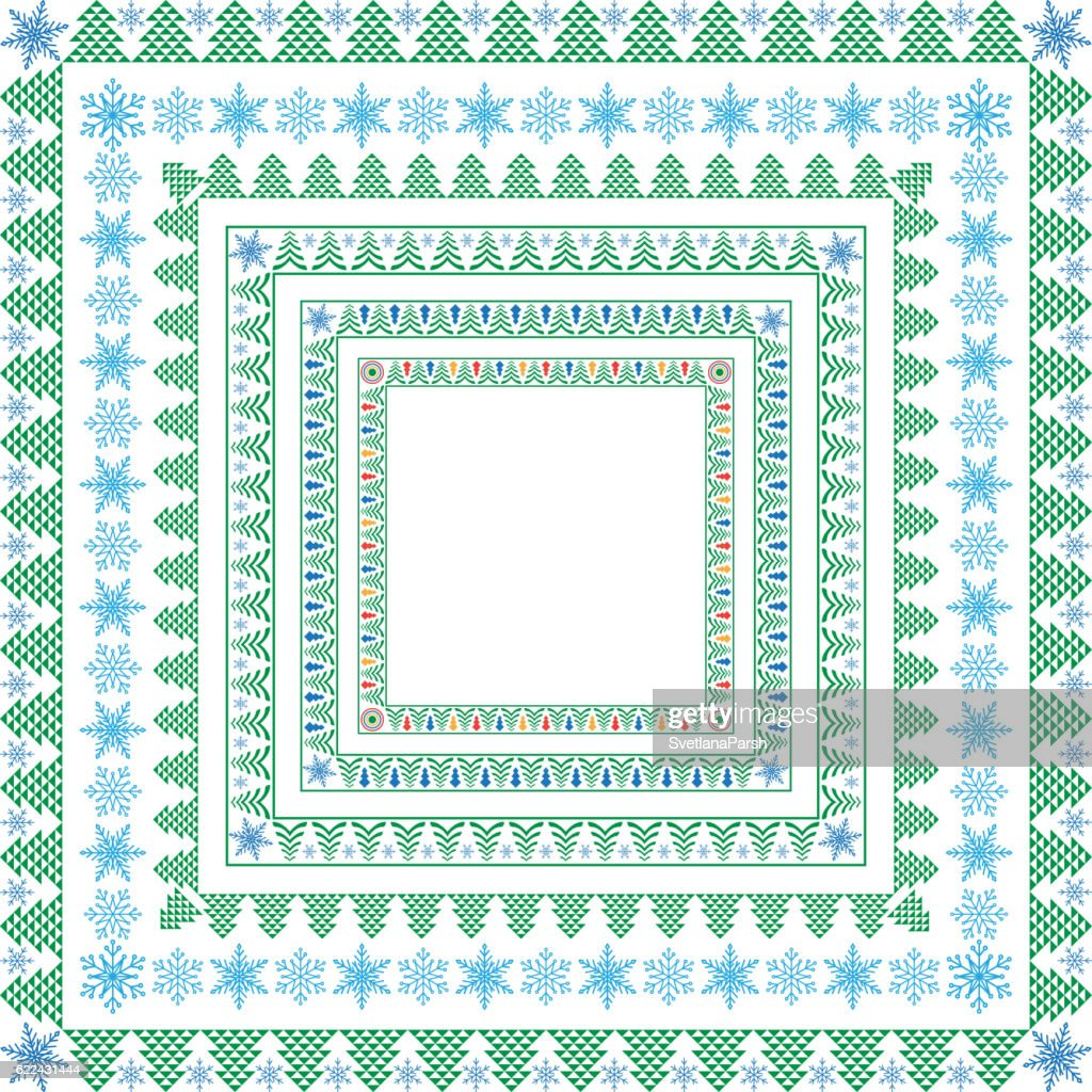 Set Of Square Winter Frames For Christmas And New Year Vector Art ...