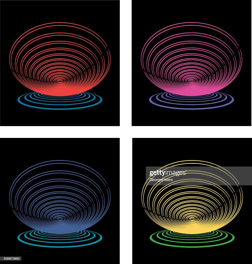 Set Of Stacked Glowing Circles Isolated on Black