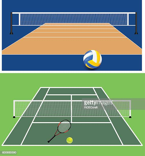 set of stadiums - tennis stock illustrations