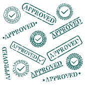 A set of stamps approved, vector illustration.