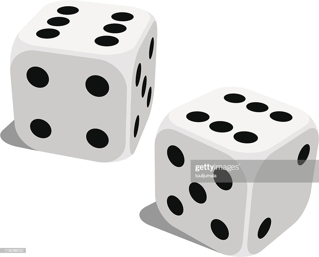 A set of standard lucky dice isolated on white