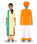 Set of standing together indian man and woman in the traditional clothing isolated on white background in flat style. Differences people in the east dress. Vector illustration.