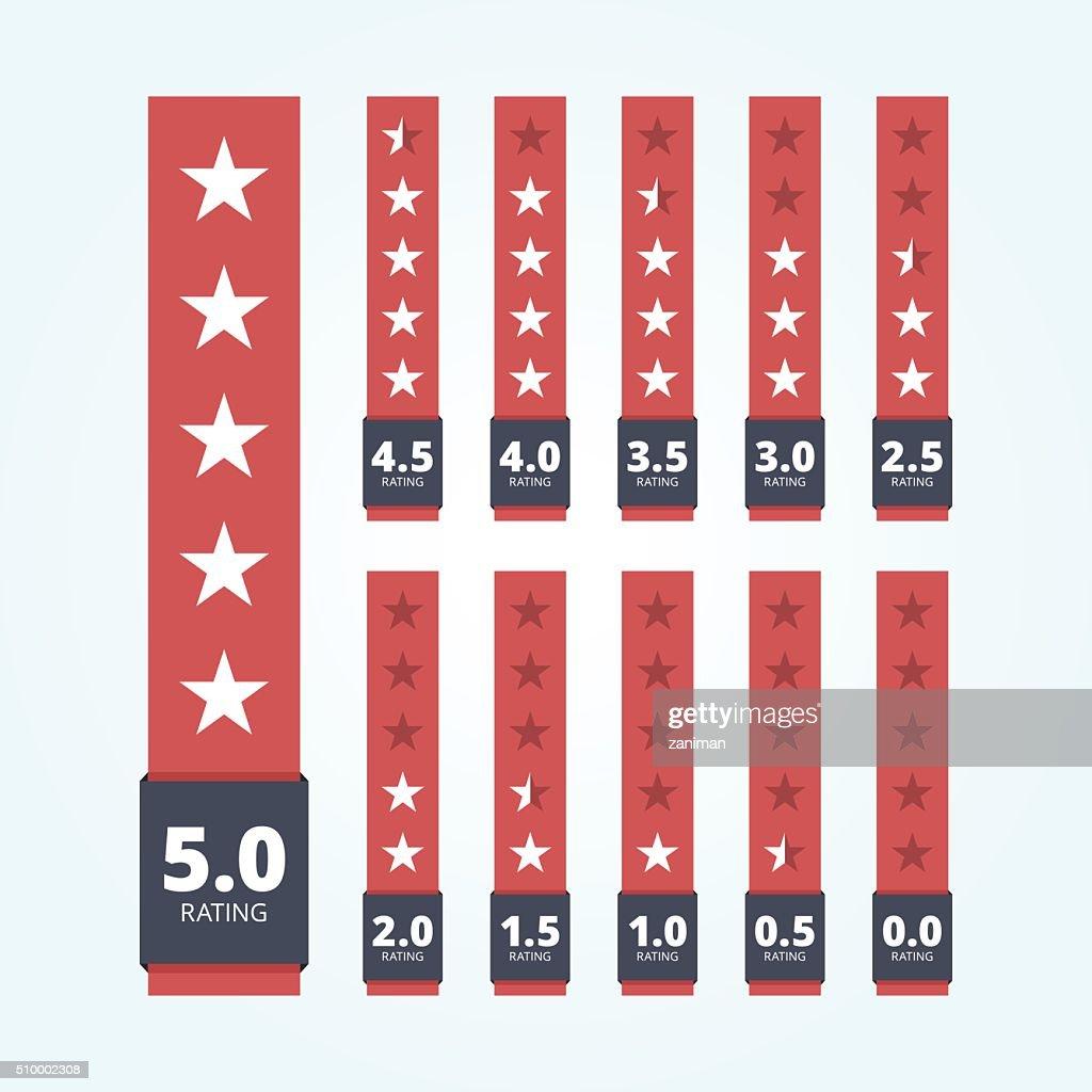 Set of star rating badges.
