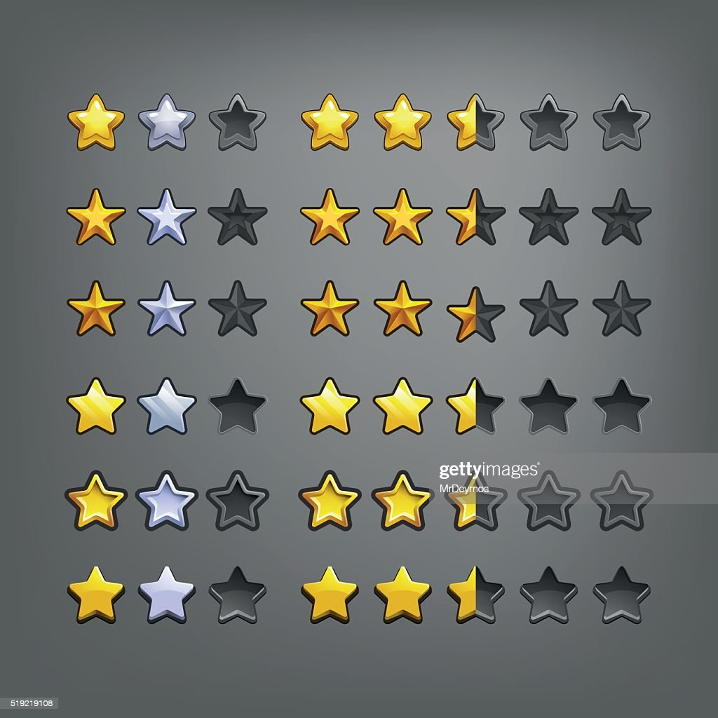 Set of stars, elements for game. Vector illustration.