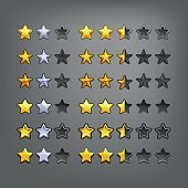 Set of stars, elements for game. Vector illustration.