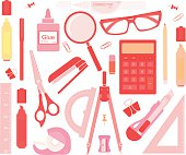 Set of stationery tools no outlines