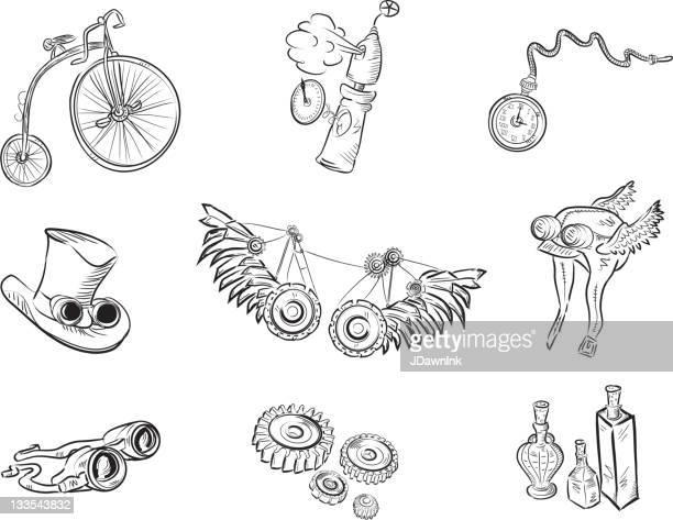ilustraciones, imágenes clip art, dibujos animados e iconos de stock de juego de steampunk artículos detallados en negro sobre fondo blanco - reloj de bolsillo