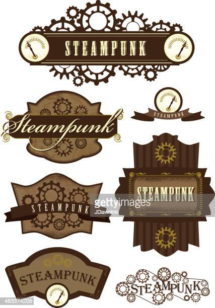 set of steampunk labels - steampunk stock illustrations