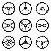 Set of steering wheel vector icon