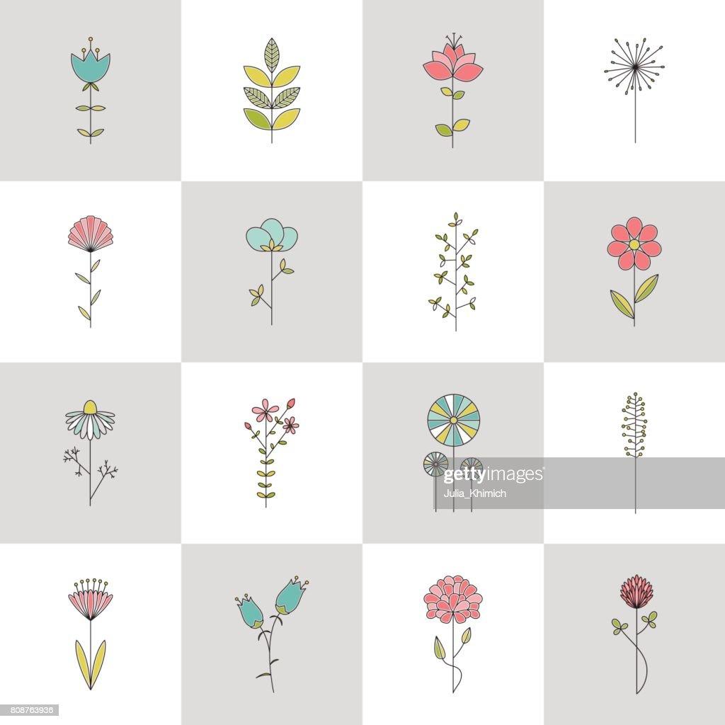 Set of stem flower line icons