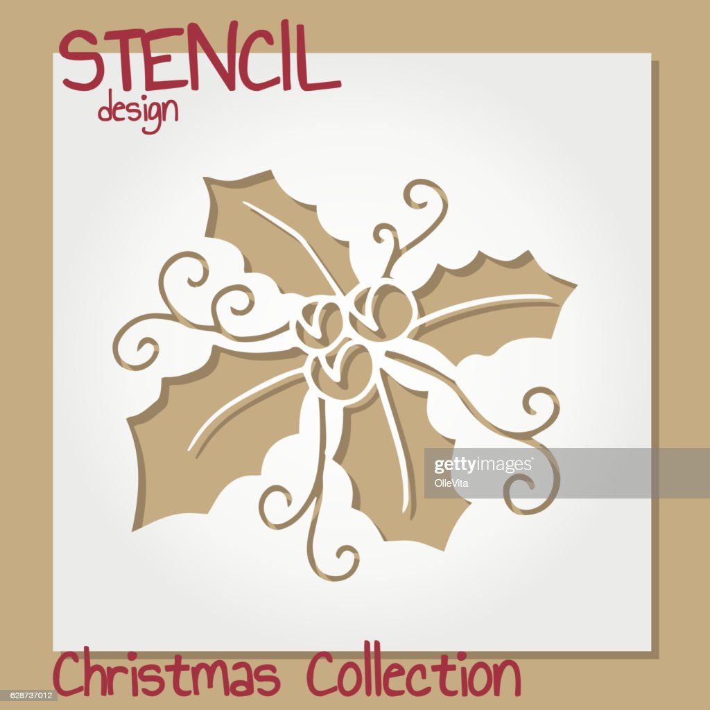 Set of Stencil design templates. Christmas collection.