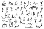 Set of stick figures in motions