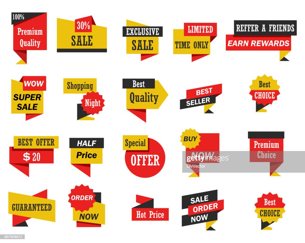 Set of stickers and banners