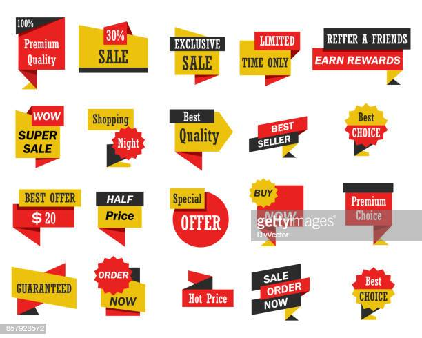 set of stickers and banners - banner sign stock illustrations