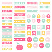 Set of stickers for planner. Weekly to do list. Scrapbook elements. Printable labels. Vector illustration.