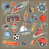 A set of stickers for the boy by interests.