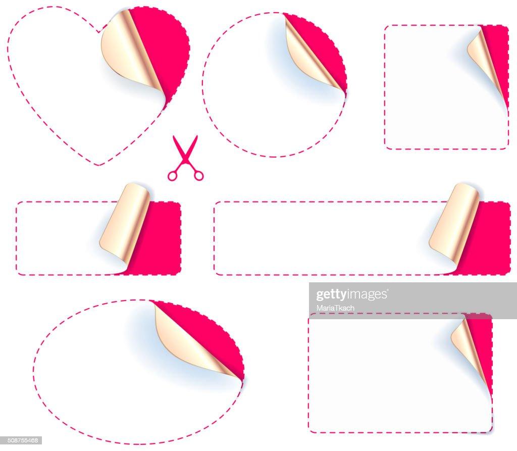 Set of stickers - golden foil reverse side