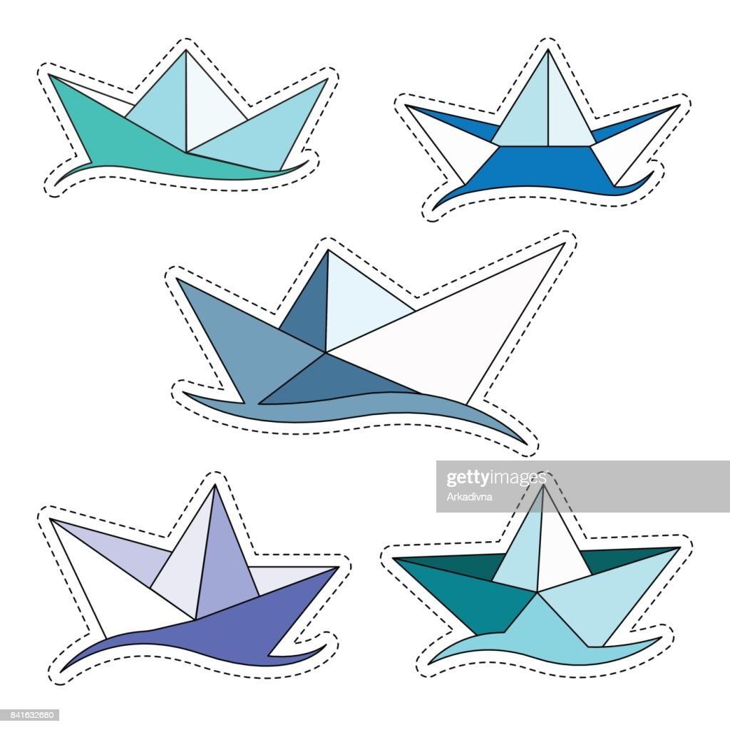 Set of stickers origami ships. Paper boat isolated on white background. Vector illustration.