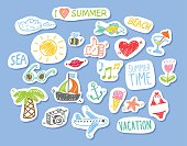 Set of stickers with sketch design element summer theme