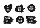 A set of stickers with the text Hot Price, Best Choice, Special offer, Super Big Sale. Ragged brush strokes.